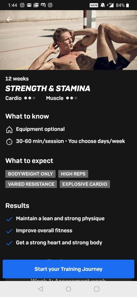 Fitness Plan Page - Freeletics