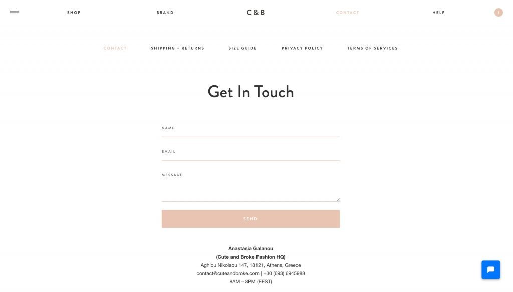 Cuteandbroke.com -  Contact Us Page