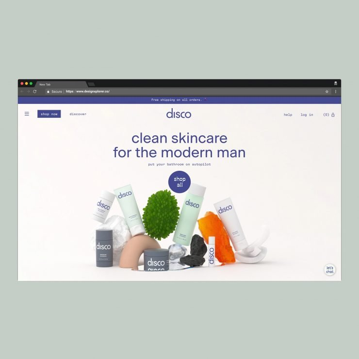 letsdisco.co – A Clean Skincare Brand's Website for Men - Home Page