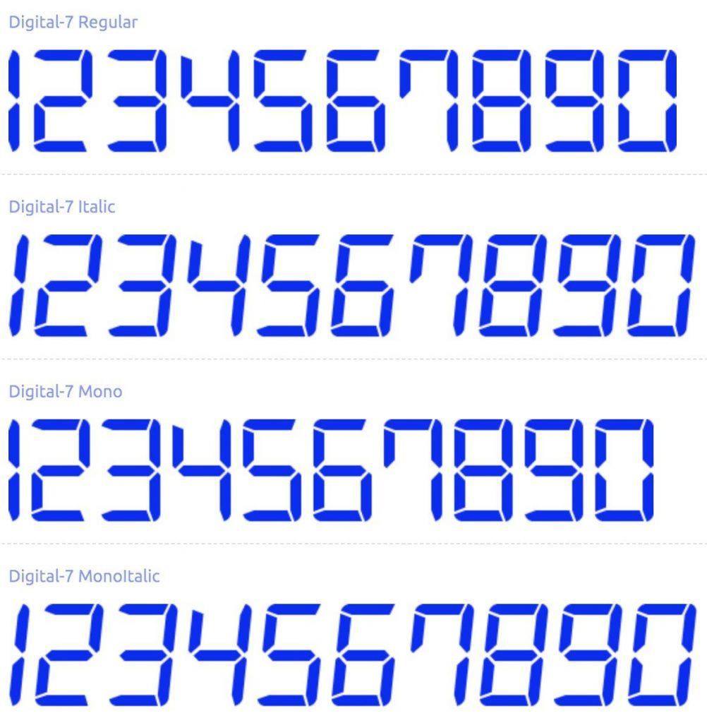 Best Number Fonts - Digital 7 Font