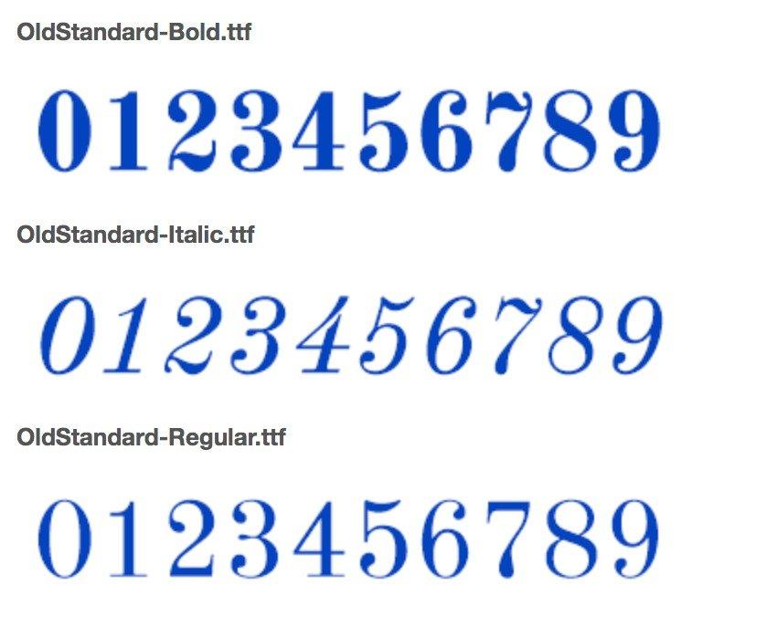 Best Number fonts - Old Standard TT