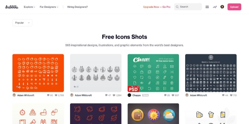 Dribbble - Best Websites to Download Icons