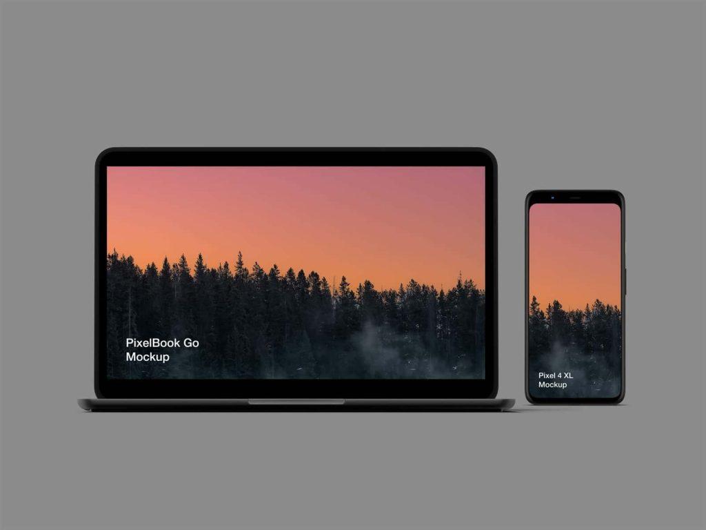 Free Pixel 4 and PixelBook Go Mockup