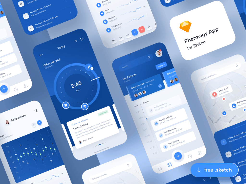 Pharmagy – Medical App free Ui Kit for Sketch